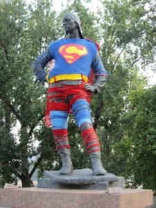 superman yarnbomb