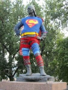 superman yarnbomb